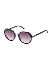 TFL Eyewear Polarized Round Full Rim Black Sunglasses for Women, Pink Lens, MT8548-166-P77-C18, 56/20/142
