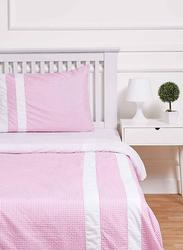 TFL 2-Piece Gingham Checks Design Kids Duvet Cover & Set, 1 Duvet Cover + 1 Pillow Cover, Pink, Single