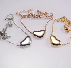 Wazna Jewellery Yellow Gold Plated Heart Shaped Pendant Necklace with White Stone