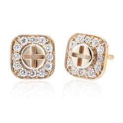 Wazna Jewellery Strength of Spirit 18K Yellow Gold Earrings with Diamond Stone