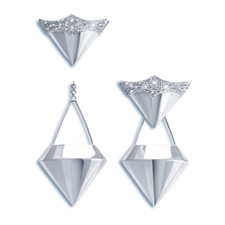Wazna Jewellery 18K White Gold Earrings with Diamond Stone