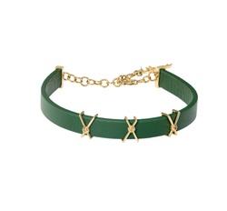 Wazna Jewellery Strength Of Spirit Leather Bracelet with 18K Yellow Gold Chain, Green