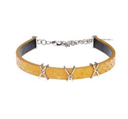 Wazna Jewellery Strength Of Spirit Leather Bracelet with 18K Yellow Gold Chain, Yellow
