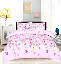 Style Nasma 3-Piece Cxor Design Sheets & Pillow Cases Set, 1 Fitted Bed Sheet + 2 Pillow Covers, Pink, King
