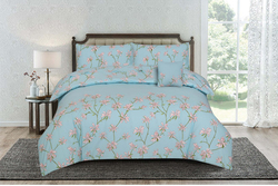 Kassino 3-Piece Adeo Design Sheets & Pillow Cases Set, 1 Bed Sheet + 2 Pillow Covers, Blue, King