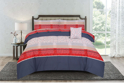 Kassino 3-Piece Ero Design Sheets & Pillow Cases Set, 1 Fitted Bed Sheet + 2 Pillow Covers, Navy/Red, King