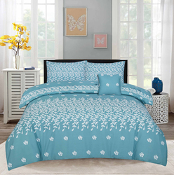 Style Nasma 2-Piece Fabbr Design Sheets & Pillow Cases Set, 1 Bed Sheet + 1 Pillow Cover, Blue, Single