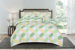Kassino 2-Piece Deno Design Sheets & Pillow Cases Set, 1 Bed Sheet + 1 Pillow Covers, Yellow/Green, Single