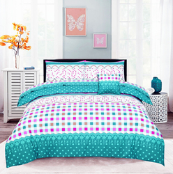 Style Nasma 3-Piece Esor Design Sheets & Pillow Cases Set, 1 Fitted Bed Sheet + 2 Pillow Covers, Aqua Blue, Queen