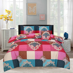Style Nasma 2-Piece Doeg Design Sheets & Pillow Cases Set, 1 Bed Sheet + 1 Pillow Cover, Red/Pink, Double