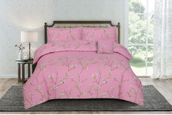 Kassino 3-Piece Adeo Design Sheets & Pillow Cases Set, 1 Bed Sheet + 2 Pillow Covers, Pink, King