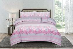 Kassino 4-Piece Carol Design Comforter Set, 1 Comforter + 1 Bed Sheet + 2 Pillow Covers, Grey/Pink, Double