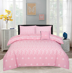 Style Nasma 3-Piece Fabbr Design Sheets & Pillow Cases Set, 1 Fitted Bed Sheet + 2 Pillow Covers, Pink, Double