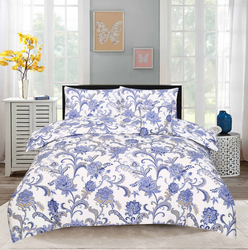 Style Nasma 3-Piece Becen Design Sheets & Pillow Cases Set, 1 Fitted Bed Sheet + 2 Pillow Covers, Blue, Queen