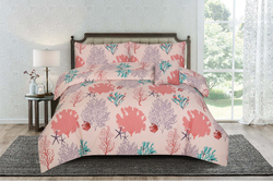 Kassino 3-Piece Batre Design Sheets & Pillow Cases Set, 1 Fitted Bed Sheet + 2 Pillow Covers, Peach, Queen