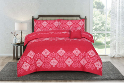 Kassino 3-Piece Fabbr Design Sheets & Pillow Cases Set, 1 Fitted Bed Sheet + 2 Pillow Covers, Burgundy/White, Twin