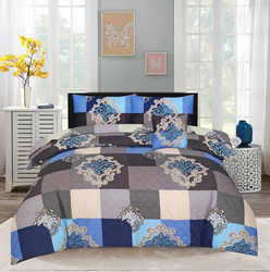 Style Nasma 3-Piece Doeg Design Sheets & Pillow Cases Set, 1 Bed Sheet + 2 Pillow Covers, Blue/Grey, King