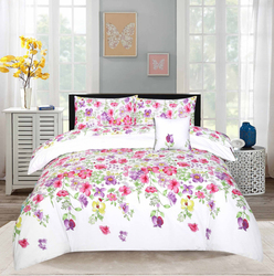 Style Nasma 2-Piece Cxor Design Sheets & Pillow Cases Set, 1 Bed Sheet + 1 Pillow Cover, White, Single