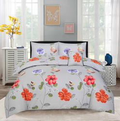 Style Nasma 4-Piece Adec Design Comforter Set, 1 Comforter + 1 Bed Sheet + 2 Pillow Covers, Grey, Queen