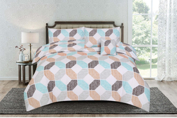 Kassino 4-Piece Deno Design Comforter Set, 1 Comforter + 1 Bed Sheet + 2 Pillow Covers, Zink, King