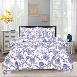 Style Nasma 3-Piece Becen Design Sheets & Pillow Cases Set, 1 Bed Sheet + 2 Pillow Covers, Blue, King