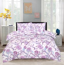 Style Nasma 3-Piece Becen Design Sheets & Pillow Cases Set, 1 Bed Sheet + 2 Pillow Covers, Purple, Queen
