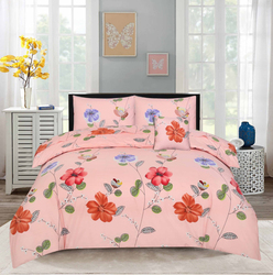 Style Nasma 3-Piece Adec Design Sheets & Pillow Cases Set, 1 Bed Sheet + 2 Pillow Covers, Peach, King