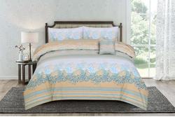 Kassino 3-Piece Carol Design Sheets & Pillow Cases Set, 1 Bed Sheet + 2 Pillow Covers, Cream/Peach/Blue, Double