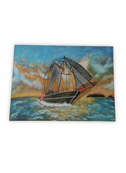 Aayrah Sailing Ship Painting, Multicolor