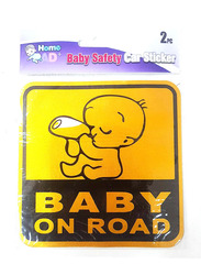 Home Pro Ad+ Baby Safety Baby on Road Car Sticker, Yellow/Black