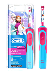 Oral B Star Frozen Vitality Rechargeable Electric Toothbrush for Kids, Pink/Blue