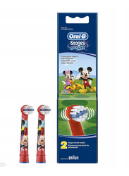 Oral B 2-Pieces Mickey EB10-2 K Stages Power Replacement Brush Heads for Kids, Red/Black