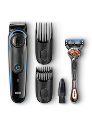 Braun BT3940 Rechargeable Beard and Hair Trimmer, with Gillette Fusion 5 Proglide Razor and Toiletry Set, Black/Blue