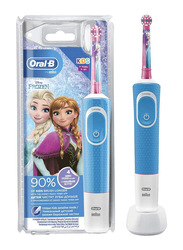 Oral B Frozen Vitality D100 Rechargeable Electric Toothbrush for Kids, Blue/White/Pink