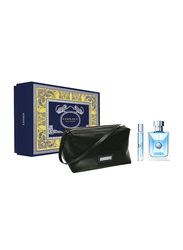 Versace 3-Piece Pour Homme Gift Set for Men, 100ml EDT, 10ml Travel Spray + Pouch