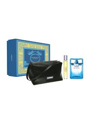 Versace 3-Piece Eau Fraiche Gift Set for Men, 100ml EDT, 10ml Travel Spray + Trousse