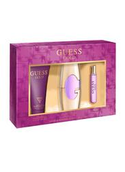 Guess 3-Piece Gold Gift Set for Women, 75ml EDP, 200ml Body Lotion + Mini