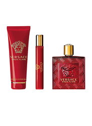 Versace 3-Piece Eros Flame Gift Set for Men, 100ml EDP, 150ml Shower Gel, 10ml Travel Spray
