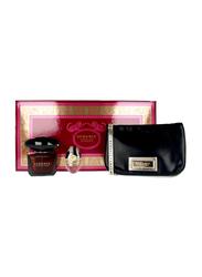 Versace 3-Piece Crystal Noir Gift Set for Women, 90ml EDT, 10ml Mini + Pouch