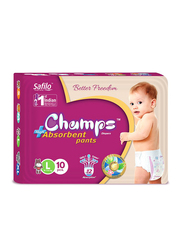 Champs High Absorbent Baby Pants Diapers, Size L, 9-14 kg, 10 Count