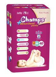 Champs High Absorbent Baby Pants Diapers, Size M, 7-12 kg, 40 Count
