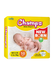 Champs Open Type Newborn Diapers, Size NB/XS, 0-5 kg, 10 Count
