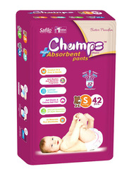 Champs High Absorbent Baby Pants Diapers, Size S, 4-8 kg, 42 Count