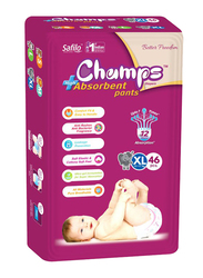 Champs High Absorbent Baby Pants Diapers, Size XL, 12-17 kg, 46 Count