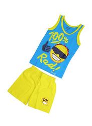 Emoji Printed Vest & Shorts Set, Size 8 UK, Blue/Yellow