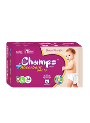 Champs High Absorbent Baby Pants Diapers, Size L, 9-14 kg, 34 Count