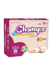 Champs High Absorbent Baby Pants Diapers, Size S, 4-8 kg, 60 Count
