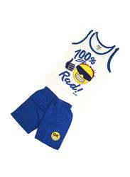 Emoji Printed Vest & Shorts Set, Size 8 UK, White