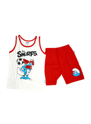 The Smurfs Printed Vest & Shorts Set, Size 12 UK, Red