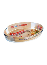 Cook n' Share 2 Ltr (4) Borosilicate Glass Oval Roaster Baking Tray, 30 x 21 x 6cm, Clear